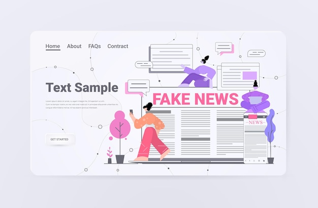 Persone che leggono notizie false sulla pagina di destinazione dei gadget digitali