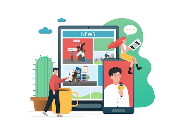 Persone che leggono giornali stampati, utilizzando il portale di notizie online