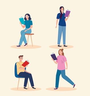 Persone che leggono i personaggi dei libri di testo