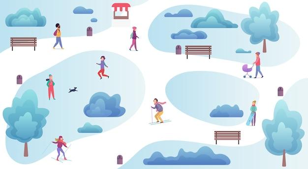 Persone che riposano e giocano nella vista dall'alto del parco invernale. uomo e donna inverno fuori mappa delle attività