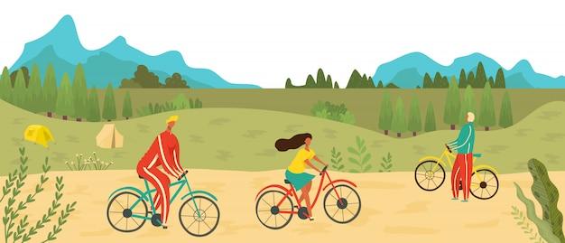 La gente che va in bicicletta nel parco all'aperto, mette in mostra la ricreazione in natura e l'illustrazione piana di stile di vita attivo, ciclando per la terra verde.