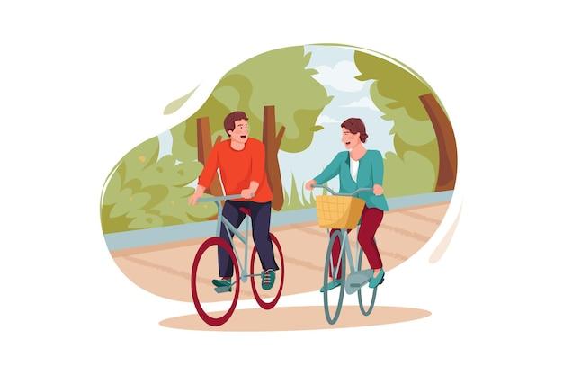 Persone in sella a una bicicletta nell'illustrazione del parco
