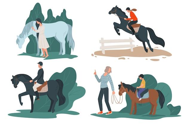 Persone a cavallo, sport di hobby equino per dilettanti. personaggi isolati in un ranch o in campagna. donna che insegna al figlio a sedersi a cavallo, fantino professionista in movimento vettoriale in stile piatto