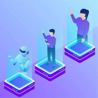 Concetto dell'ologramma del robot e della gente con varia posizione con stile isometrico