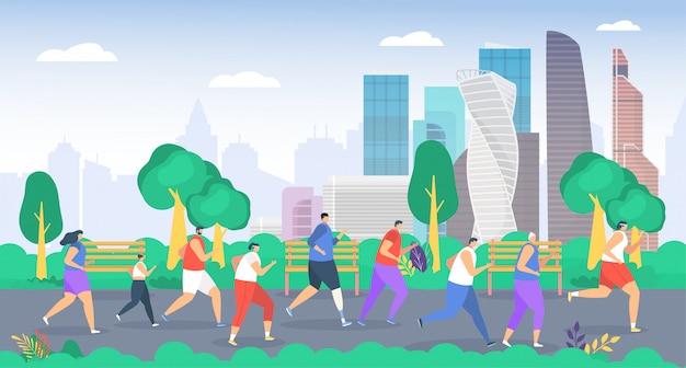 La gente corre nell'illustrazione del parco, i personaggi degli sportivi del gruppo di cartoni animati che corrono insieme, la famiglia attiva o la maratona da jogging degli amici