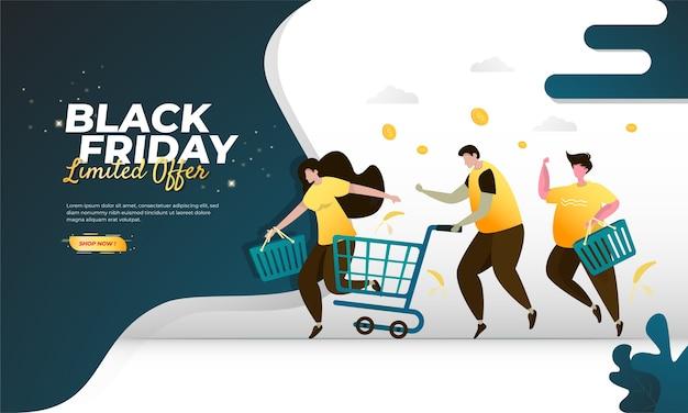 Persone che corrono per fare acquisti per l'evento del black friday