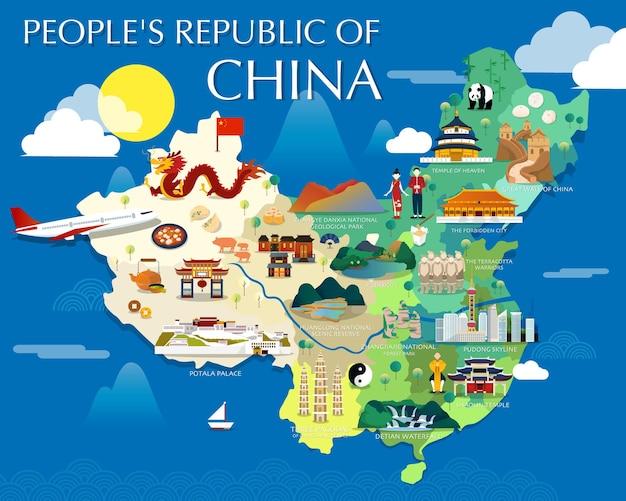 Mappa della repubblica popolare cinese con design di illustrazione di punti di riferimento colorati