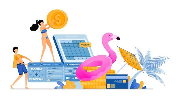 Le persone risparmiano e preparano i fondi per una vacanza