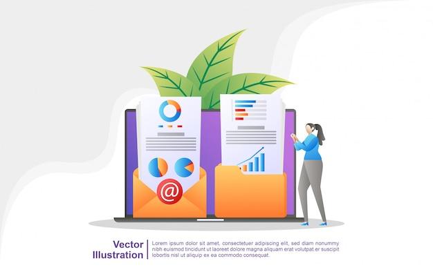 Le persone salvano e condividono contenuti di marketing nelle e-mail dei clienti.