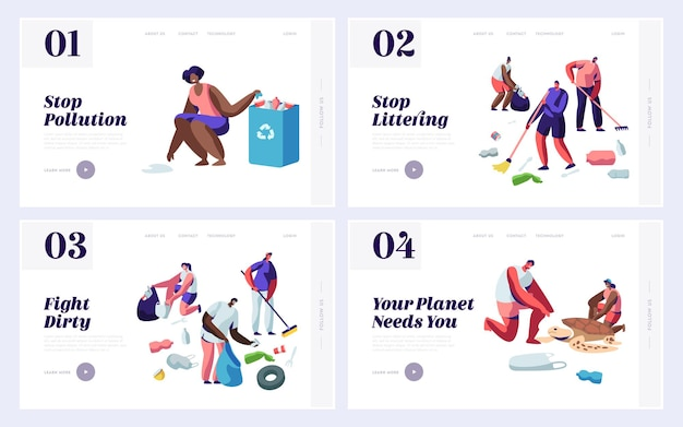 Persone che risparmiano e puliscono il pianeta dal set di modelli di pagina di destinazione del sito web del cestino.