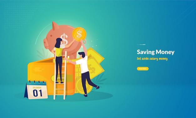 Persone che risparmiano illustrazione dei soldi dello stipendio per il concetto di affari