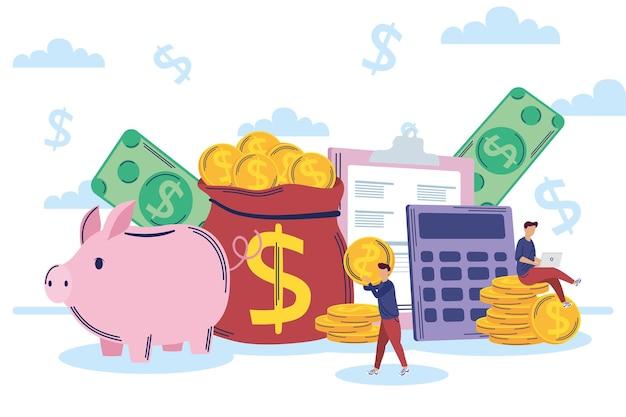 Icone di gestione delle persone e del risparmio