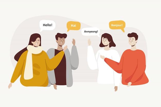 Le persone salutano in diverse lingue