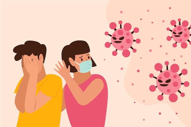 Persone spaventate dalla malattia da coronavirus