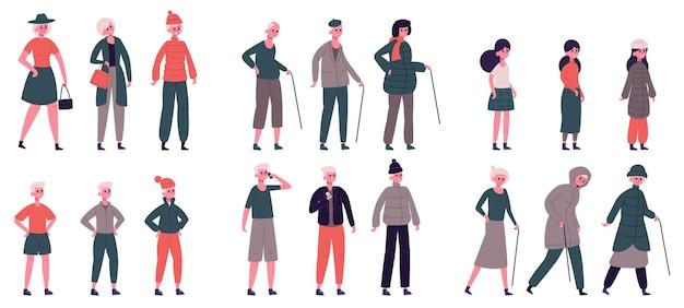 Persone in abiti stagionali. personaggi adulti anziani adolescenti e bambini vestiti per condizioni meteorologiche diverse