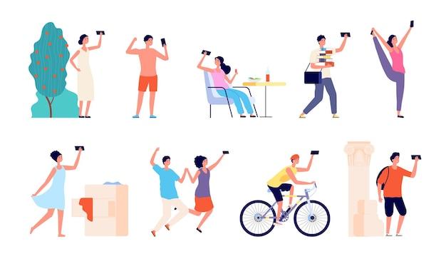 Personaggi selfie persone. cartone animato giovane maschio, millennial che scattano foto al telefono. gli smartphone adulti teenager degli studenti piatti emettono insieme di vettore. illustrazione smartphone selfie persona, foto di coppia alla fotocamera