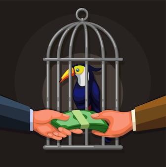 Persone che vendono uccelli esotici tucano. concetto di illustrazione di affari illegali di commercio di fauna selvatica nel vettore del fumetto