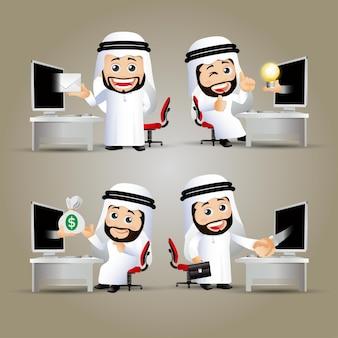 Le persone mettono uomini d'affari arabi davanti al computer