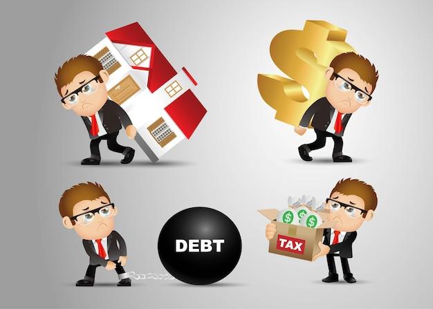 Persone set - affari - affari - concetto di debito