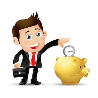 People set business gli uomini d'affari mettono il tempo nel salvadanaio