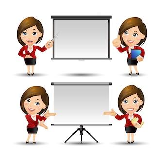 Set di persone - business - imprenditrice dando presentazione