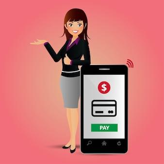 Persone impostano pagamenti mobili