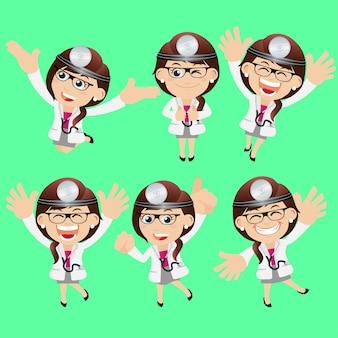 Le persone mettono il medico di professione in pose diverse