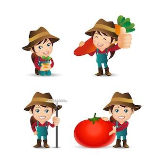 Persone impostare professione agricoltore