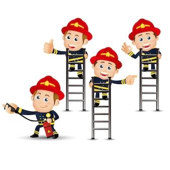Set di persone. professione. pompiere.