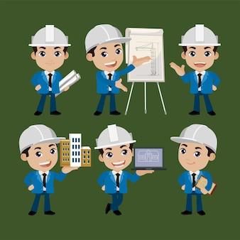Persone set professione set di personaggi del costruttore in diverse pose Vettore Premium