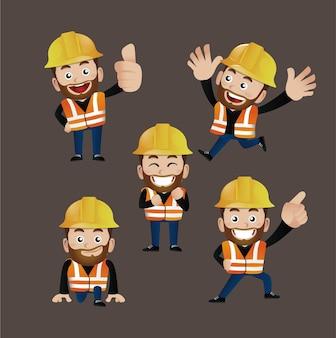 Set di persone - professione - operaio. costruttore