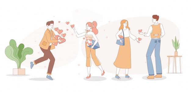 La gente condivide con i loro cuori illustrazione del profilo del fumetto. uomini e donne si scambiano simpatie.