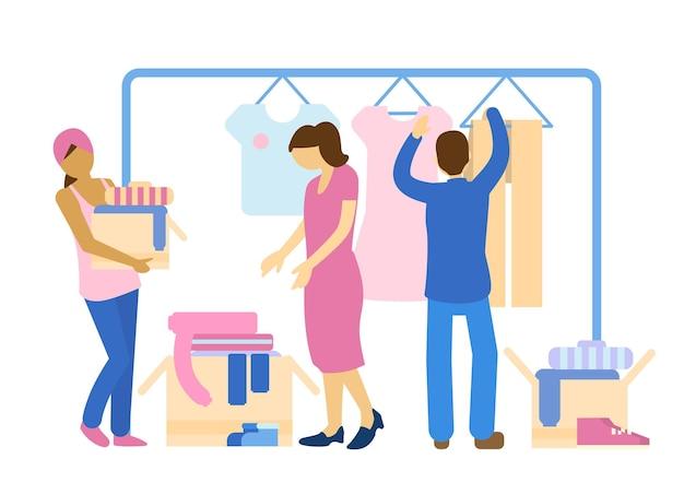 Persone che condividono i vestiti. condivisione del concetto di economia. la carità e il concetto di donazione.