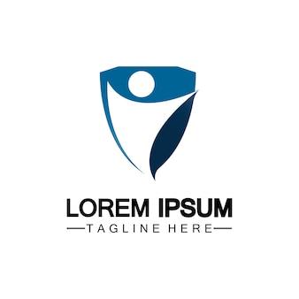 Icona dello scudo di persone. logo di assicurazione sulla vita, protezione umana o concetto di assicurazione logo illustrazione vettoriale design isolato su sfondo bianco