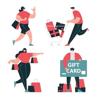 People shopping set di caratteri per la vendita o lo sconto