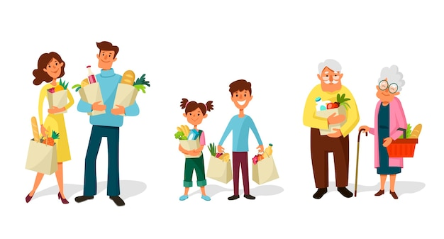 La gente che compera insieme. famiglie e coppie dai bambini agli anziani con i sacchetti della spesa.