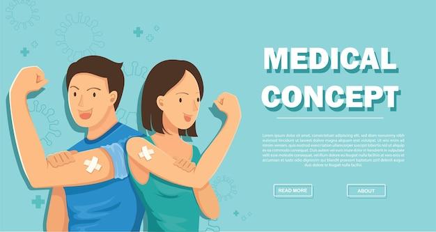 Persone che mostrano il concetto di vaccinazione vaccinata