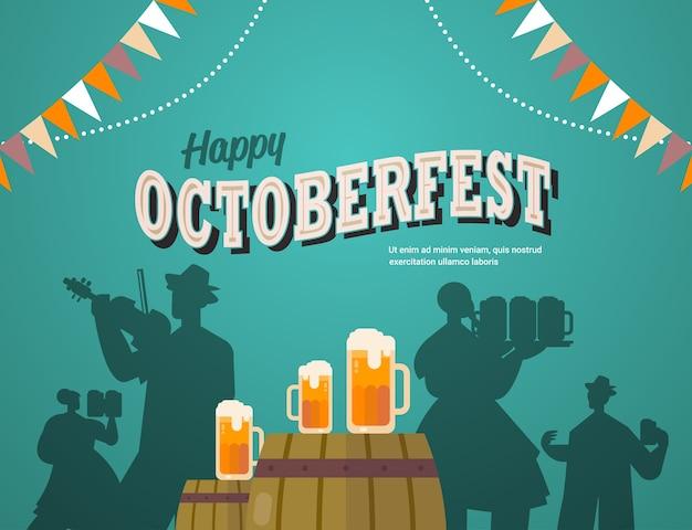 Sagome di persone che celebrano la festa della birra