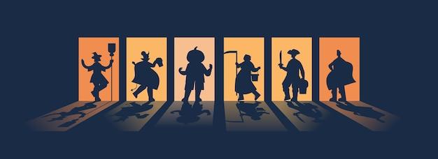 Sagome di persone in costumi diversi che celebrano felice festa di halloween concetto biglietto di auguri orizzontale a figura intera illustrazione vettoriale