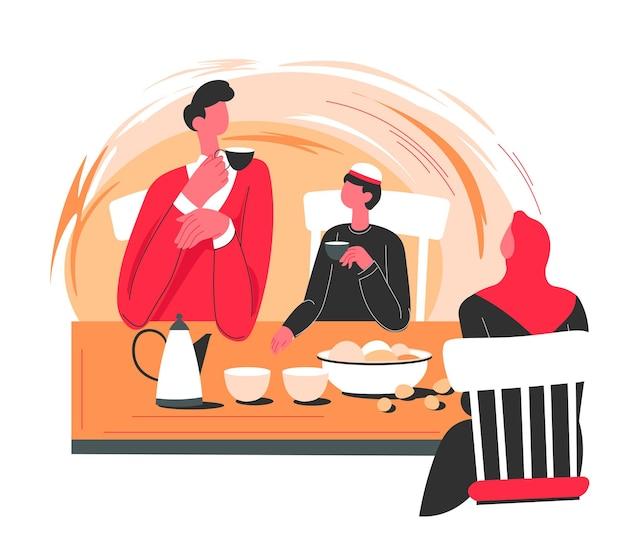 Persone sedute a tavola, che mangiano dolci e parlano a casa. personaggi musulmani che comunicano in una cena o un ristorante. tradizioni del paese arabo, donna che indossa abiti hijab. vettore in stile piatto