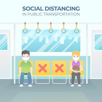 Le persone sedute distanti l'una dall'altra dal concetto di allontanamento sociale