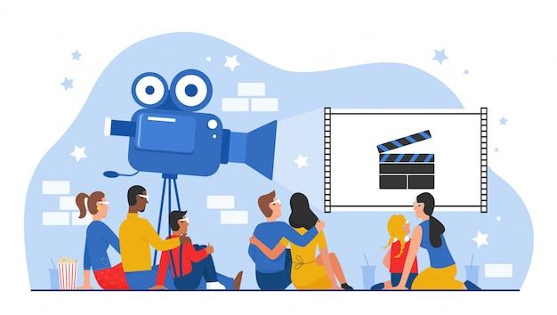 Persone sedute nell'illustrazione di cinema o sala cinematografica, personaggi dei cartoni animati di famiglia, coppia o amici che guardano film insieme