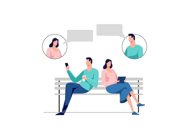 Persone sedute nel parco in panchina giovane uomo e donna in chat illustrazione