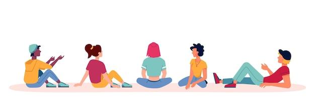 Le persone sedute e parlando icone discutono o conversano con le spalle o guardano da dietro il vettore piatto