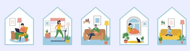 Persone sedute a casa loro. quarantena, serie di concetti di soggiorno a casa.