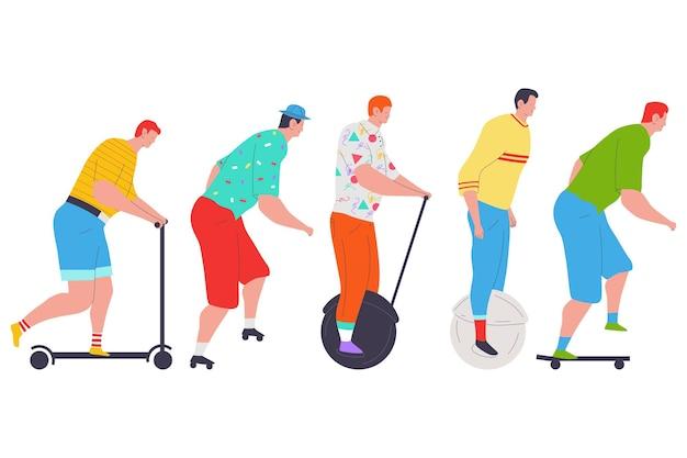 Persone su uno skateboard, rulli, set di cartoni animati di scooter isolato.