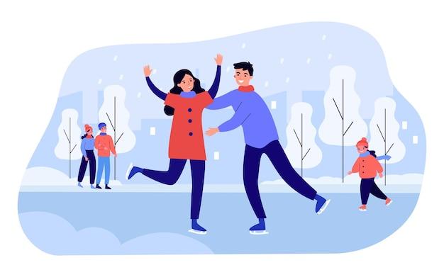Persone che pattinano nel parco invernale. amici felici uomini e donne che si rilassano sulla pista di pattinaggio. attività sportive invernali, concetto di tempo libero nel fine settimana. piatto del fumetto di vettore, atterraggio della pagina web.