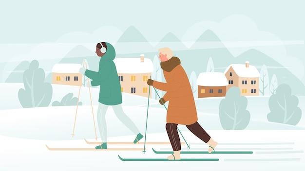 Persone in attività di sport invernali di sci durante le vacanze