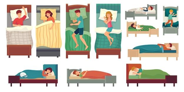 Persone che dormono nei letti. uomo adulto a letto, donna addormentata e bambini piccoli dormono insieme dell'illustrazione.