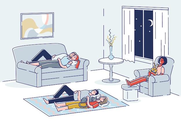 Persone che dormono in soggiorno gruppo di cartoni animati che sonnecchiano sul divano in poltrona e sul pavimento